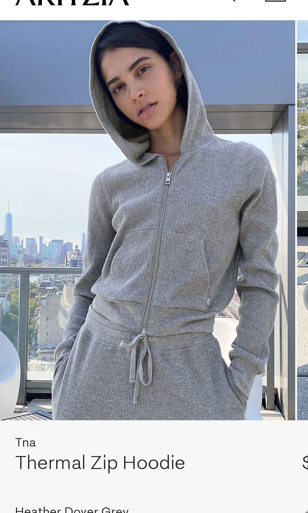 Aritzia tna thermal cropped zip hoodie