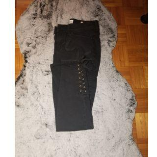 FASHION NOVA Black Jeans with cross tied ankles