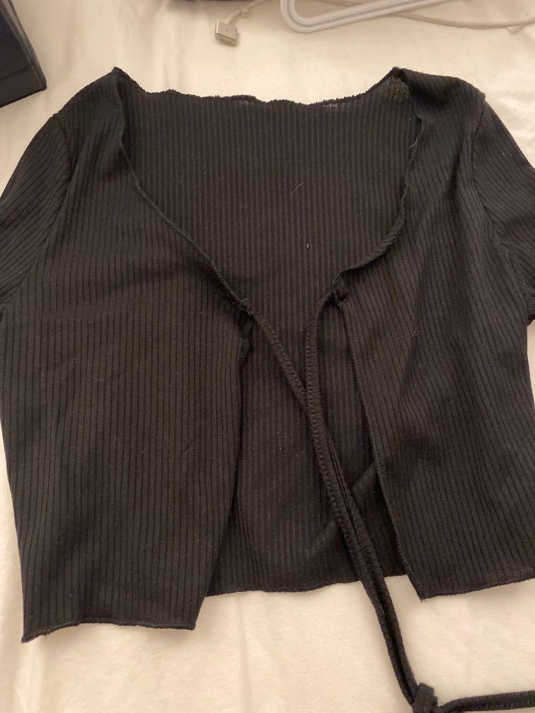 black tie front cardigan