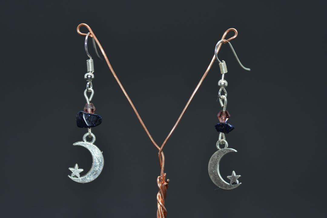 Blue sandstone and crescent moon earrings