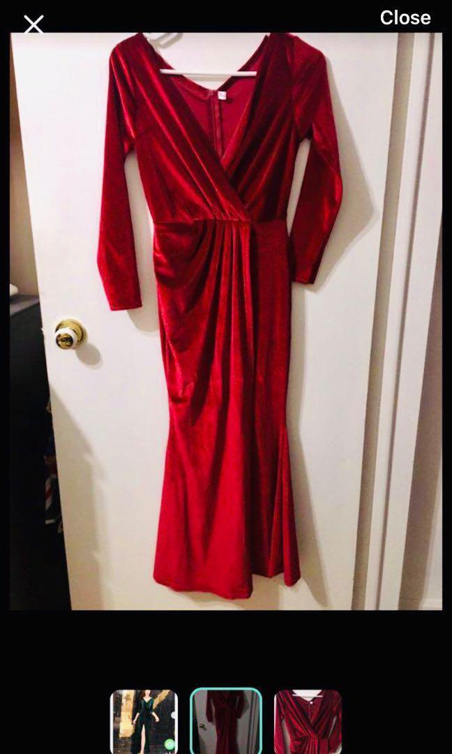 Bnwot red velvet evening dress
