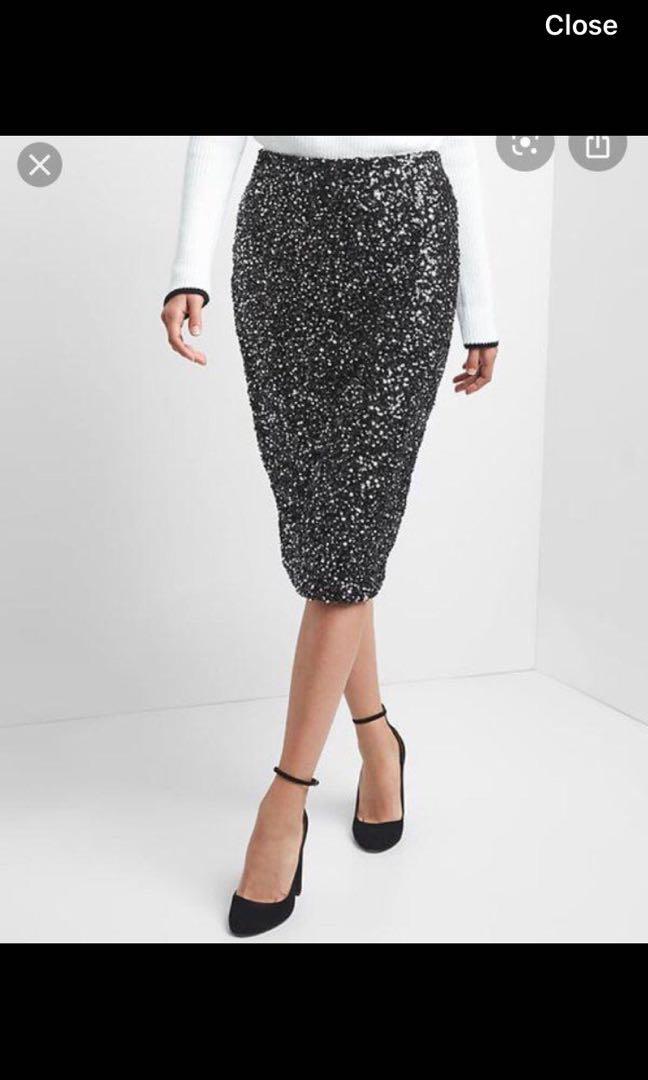 Bnwt sequin dark indigo blue skirt