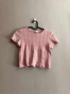 Knitted/ribbed Baby pink Crop Top