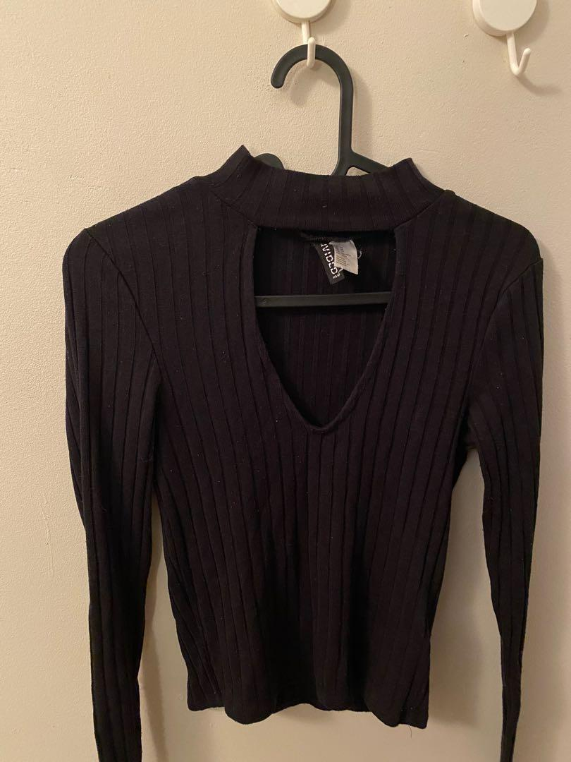 Long sleeve cut out turtle neck