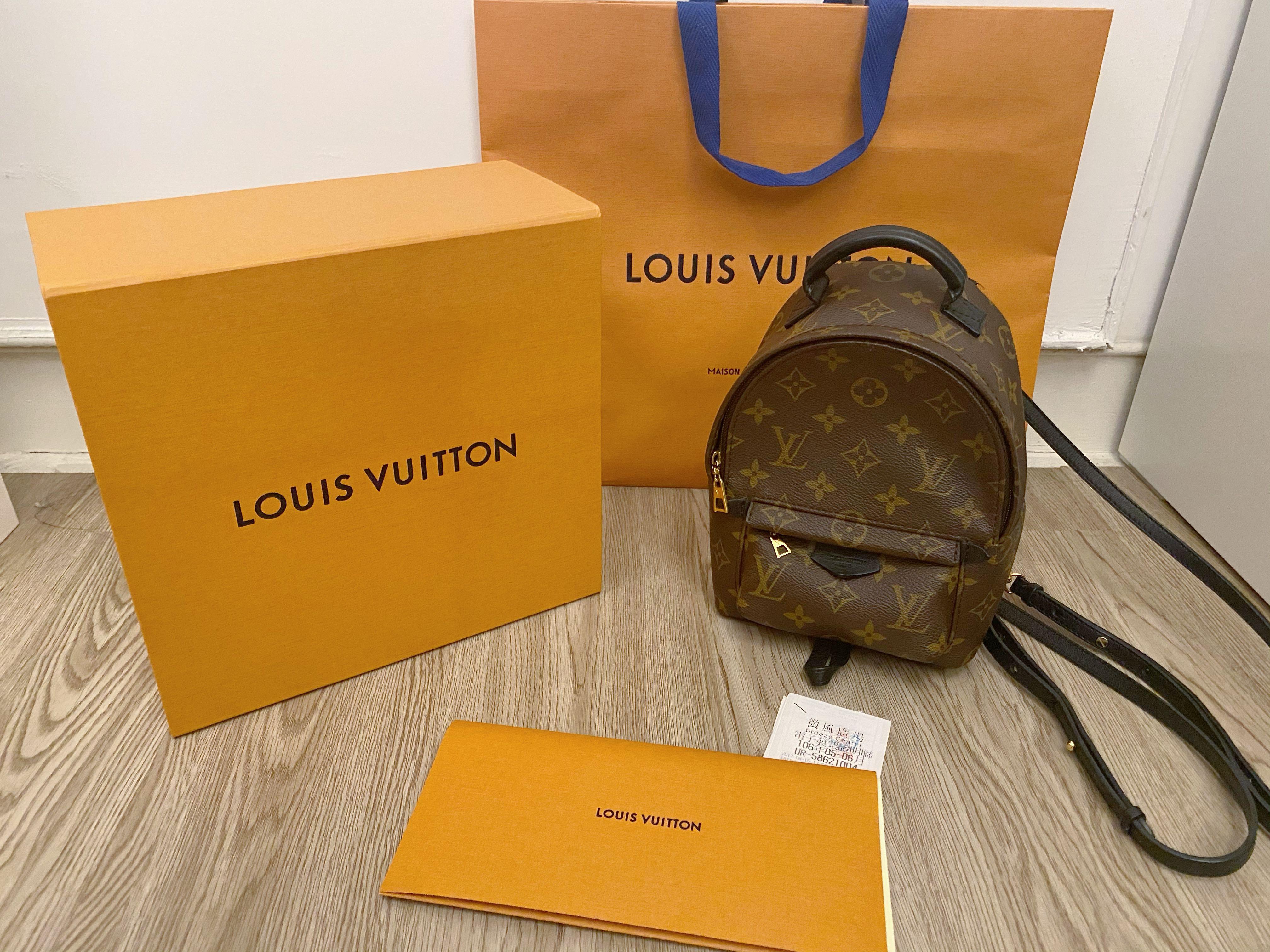自售 LV Louis vuitton mini老花雙肩後背包 現貨 二手 全配 專櫃正品
