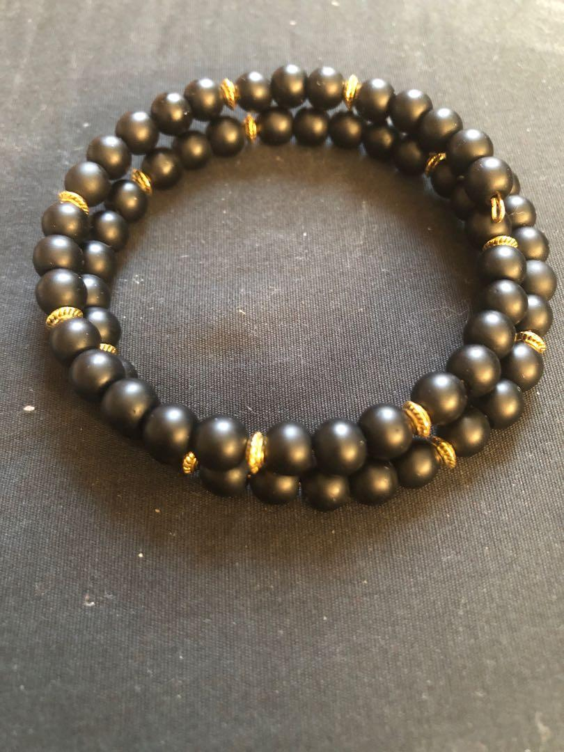Onyx stone wrap-around bracelet