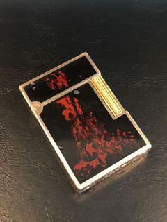 """ST Dupont gold plated with red and black """"Volcano"""" lacquer design lighter"""
