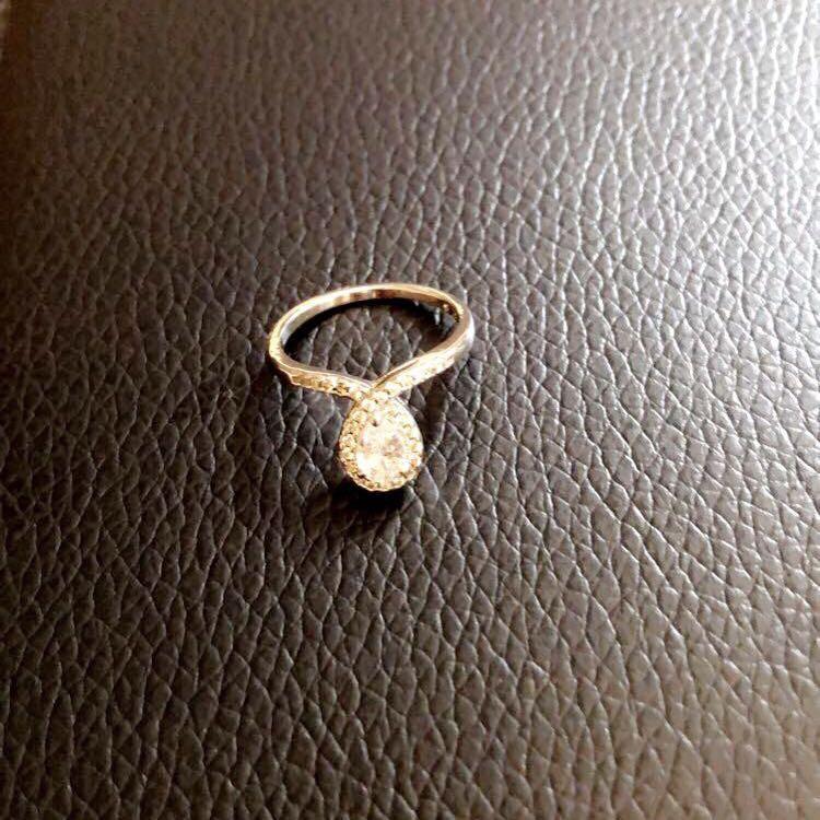Sterling silver CZ teardrop ring