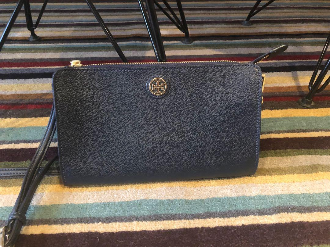 TORY BURCH navy leather crossbody bag