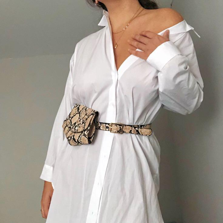 White Zara dress shirt dress