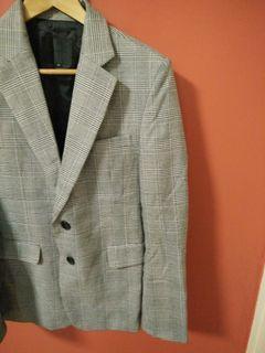 九成九新 千鳥革 歐美 時尚 西裝 外套 男版 M
