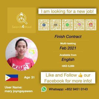 本地完約 請工人姐姐 Domestic Helper / Search4maid User Name: mary joyngayawen / 2021 二月