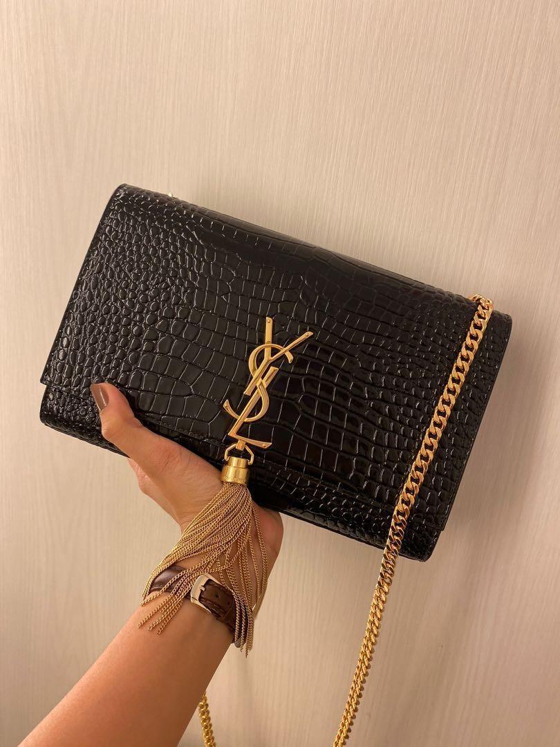 Authentic YSL Saint Laurent Kate Croc Bag