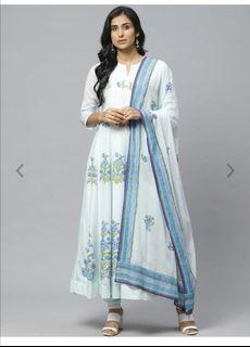 Biba Women Blue Floral Print Kurta with Churidar & Dupatta, Product Code: 12185688