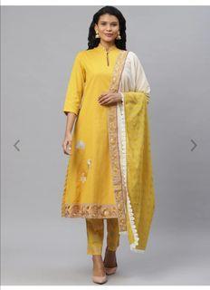 Biba Women Mustard Yellow Solid Kurta with Trousers & Dupatta, Product Code: 12653632