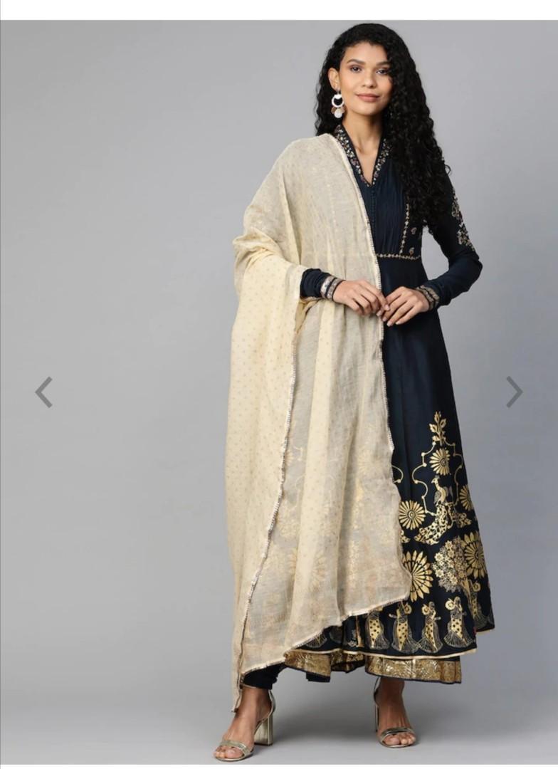 Biba Women Navy Blue & Cream-Coloured Printed Kurta with Churidar & Dupatta, Product Code: 12653656