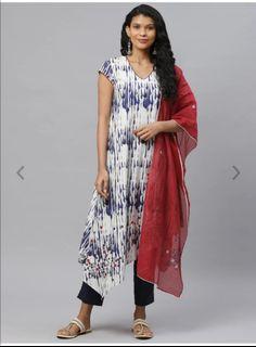 Biba Women White & Blue Printed Kurta with Trousers & Dupatta, Product Code: 12653578