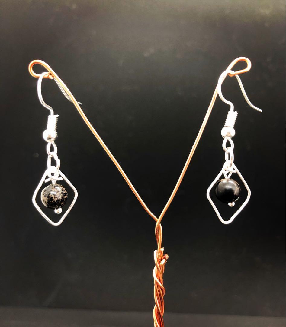 Black jasper drop earrings