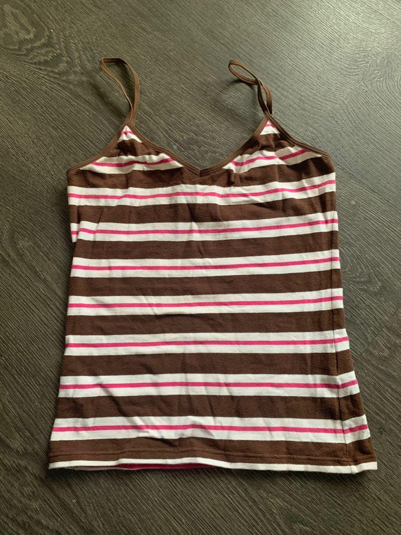 Brown and Pink Striped Tank Size Small