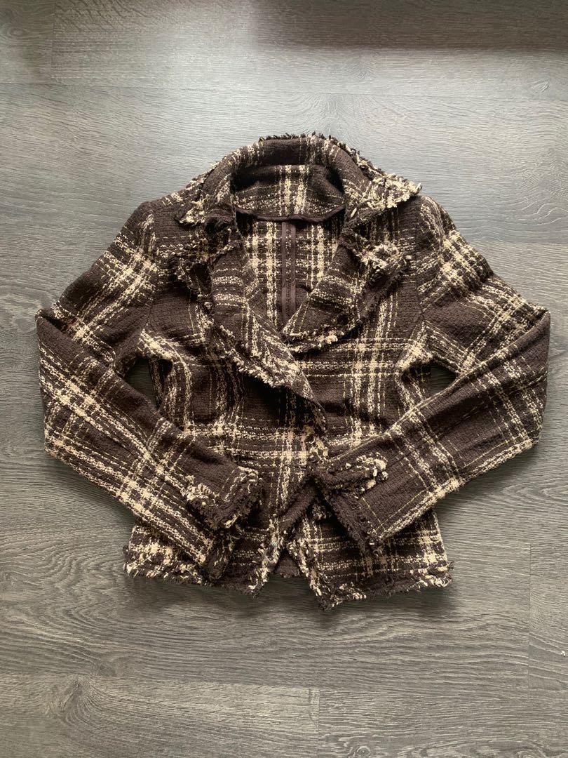 Brown Tweed Jacket Blazer Cardigan Size Small
