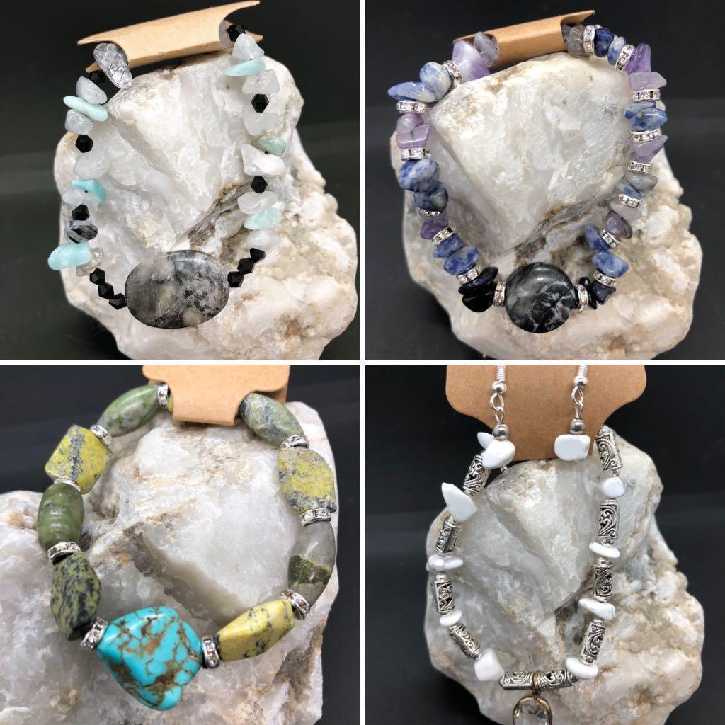 Gemstone and stone bracelets