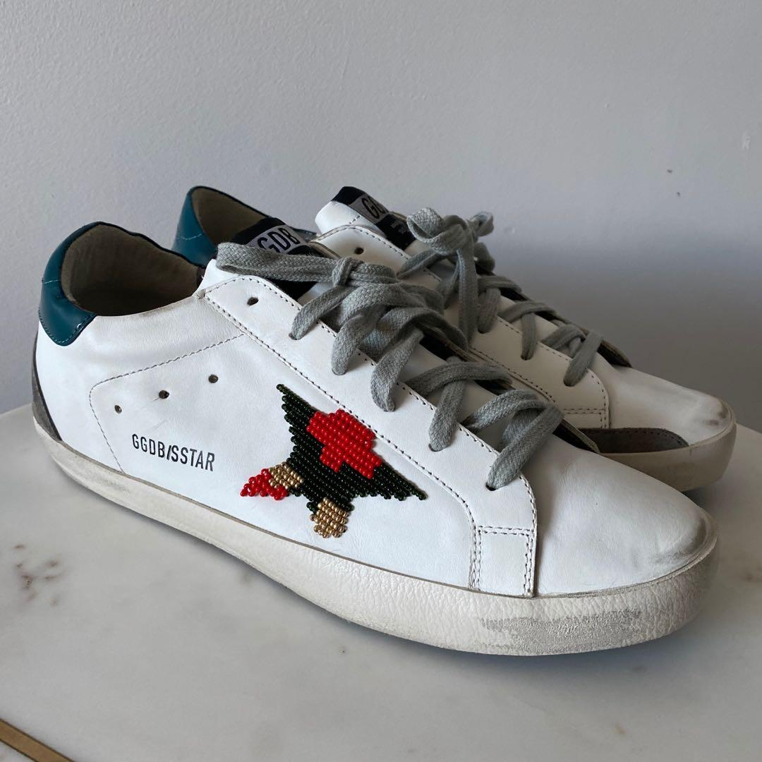Golden Goose Superstar Sneakers With Beaded Star Size 11