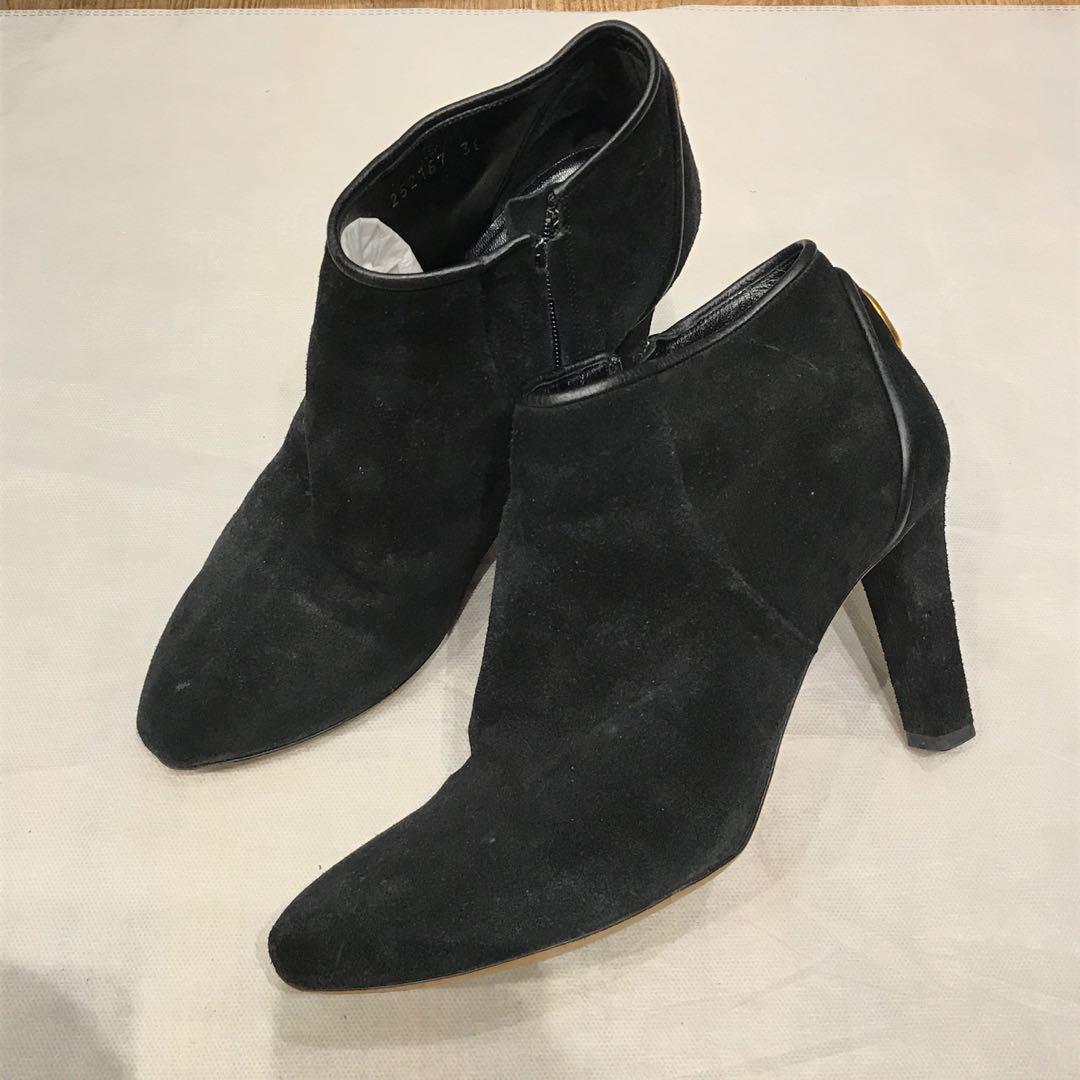 Gucci 麂皮高跟踝靴38號