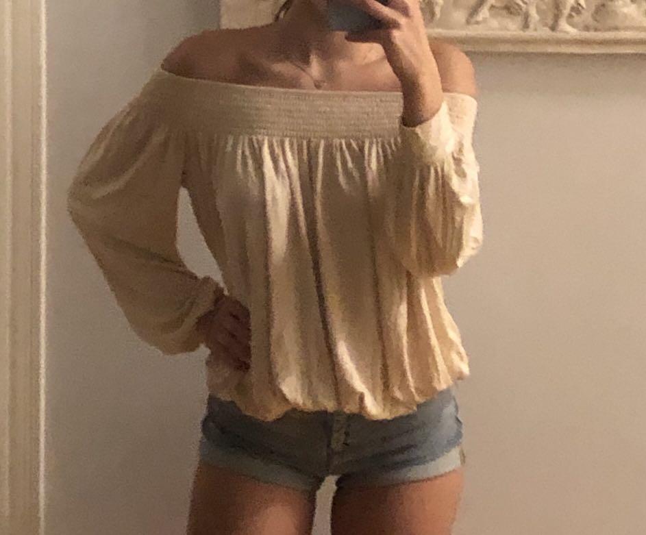 Long sleeve off the shoulder top