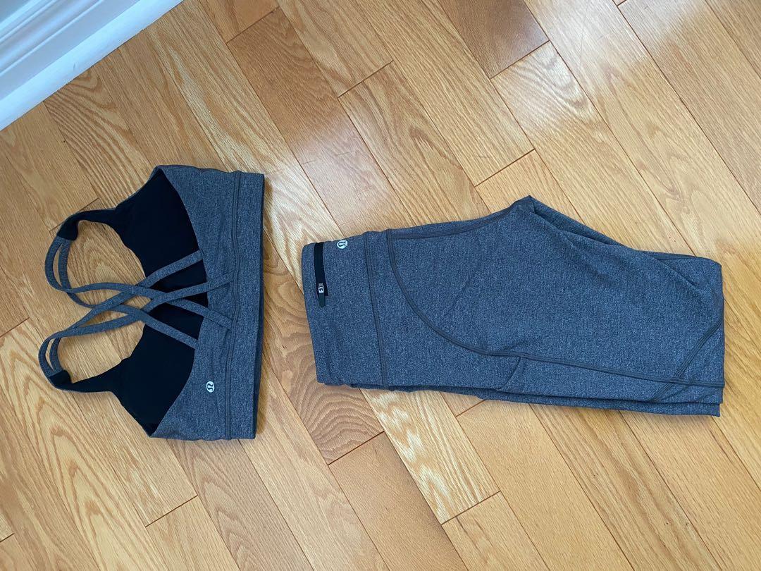Lululemon Leggings with Pockets & Sports Bra - Heathered Grey (Size 6 -both)