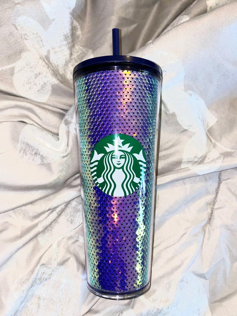 NEW Christmas Starbucks 2020 Purple Sequins Tumbler 24oz Cup