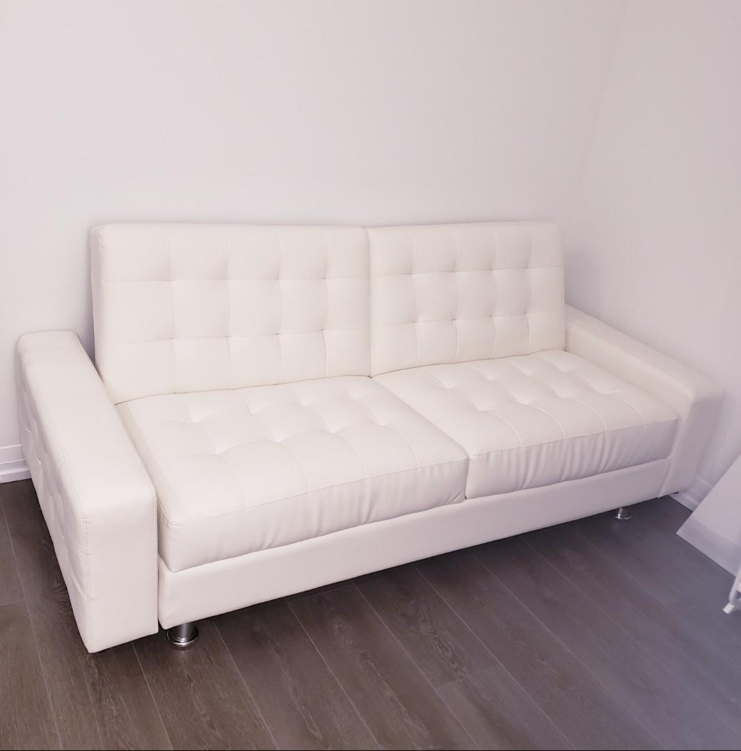 Off White Leather Couch and Bed