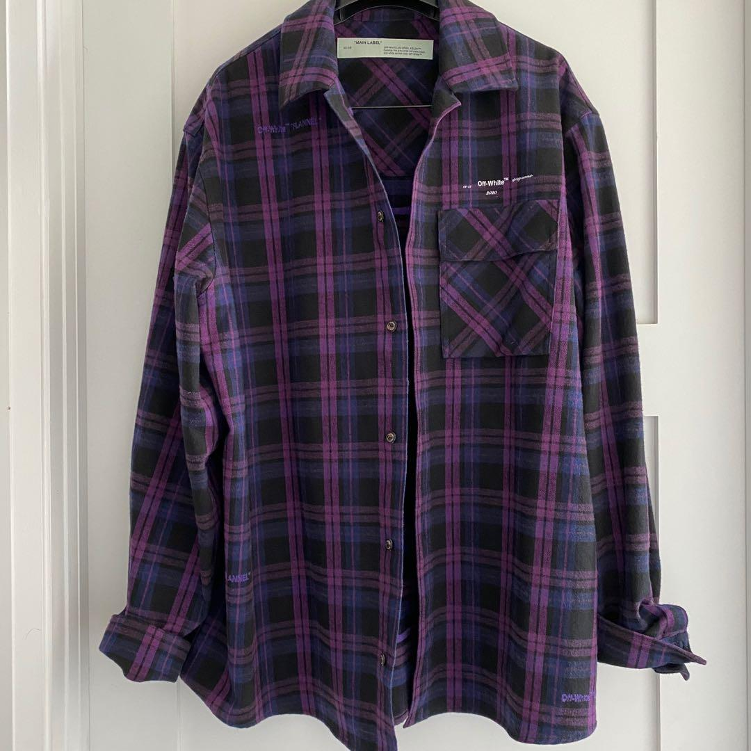 Off-White Violet Flannel Checked Shirt Size M