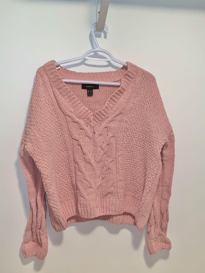 Pink thick knit sweater