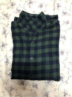 Uniqlo綠藍格子襯衫
