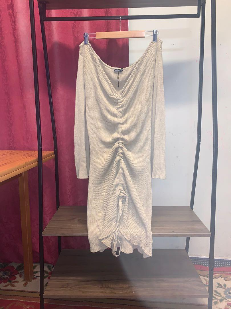 (USED) Size 18 Ruched Bardot Knitted Dress