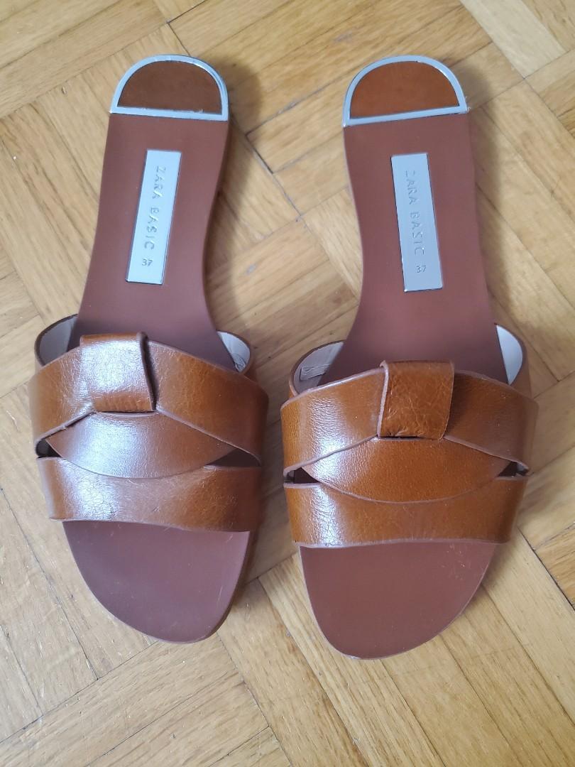 Zara Crossover Leather Slides