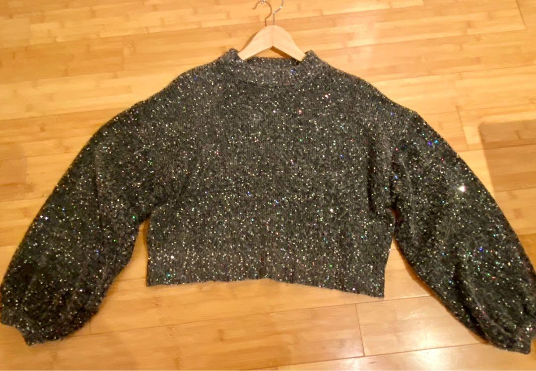 ZARA very sparkly multicoloured sequins charcoal grey cropped sweater