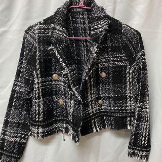 格子黑白西裝外套