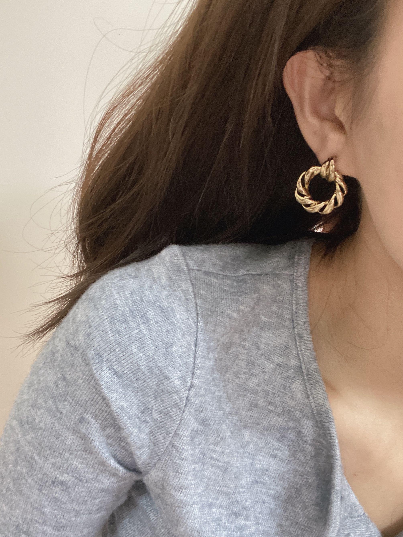 復古 金色 耳環 老件 古董