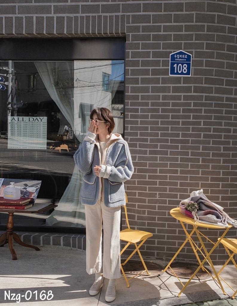 正韓(韓國空運回台) 高單 –秋冬新款- 觸感柔軟可愛羊毛拼接撞色雙口袋滾邊連帽外套-單一色(Nzg-0168)
