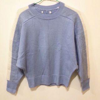 全新轉賣 beartwo 寬袖飛鼠袖幾何圖案配色羅紋圓領毛衣 針織上衣 針織衫 淺藍色
