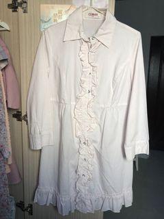 淡粉色條紋襯衫洋裝 L