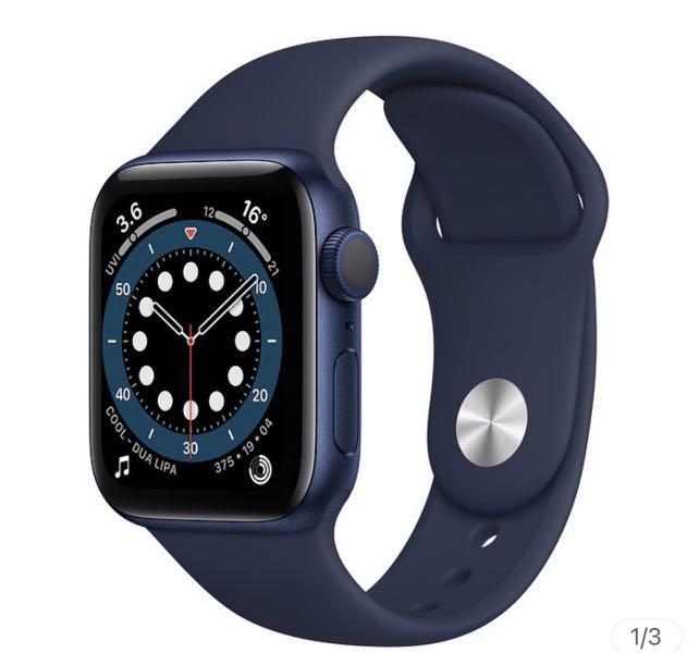 (全新未拆)Apple Apple Watch S6 GPS 44mm/藍色鋁金屬錶殼/海軍深藍色運動型錶帶 M00J3TA