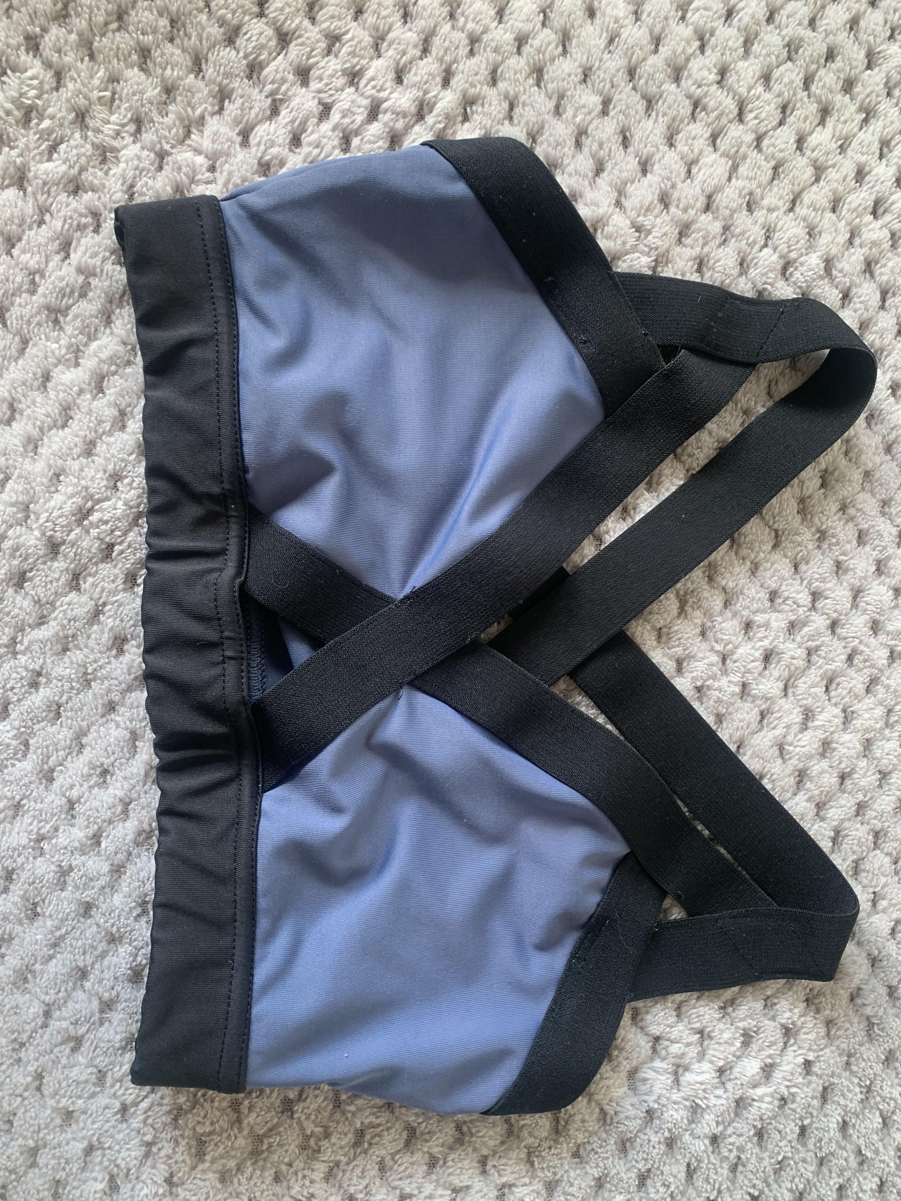Blue & black crop/sports bra