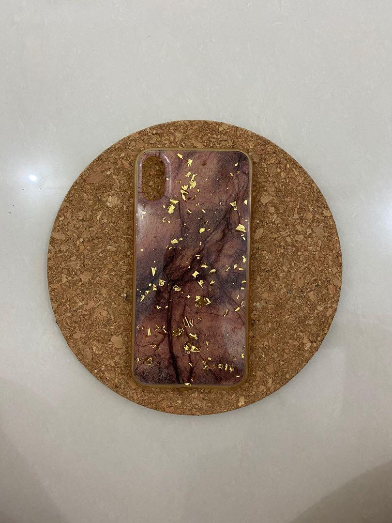 Brown marble case with gold flakes for iPhone X & Xs