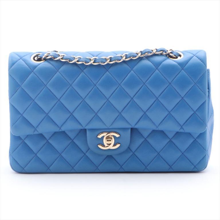 CHANEL MATRASSE LAMBSKIN DOUBLE FLAP DOUBLE CHAIN BAG BLUE SILVERMETAL 21 SERIES