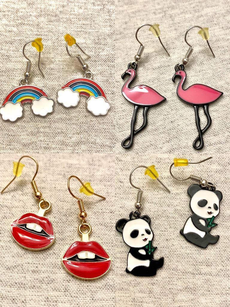 Cute handmade earrings rainbow panda flamingo lips
