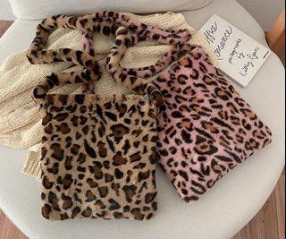 Fluffy Bag Y2k Leopard Fur Boho