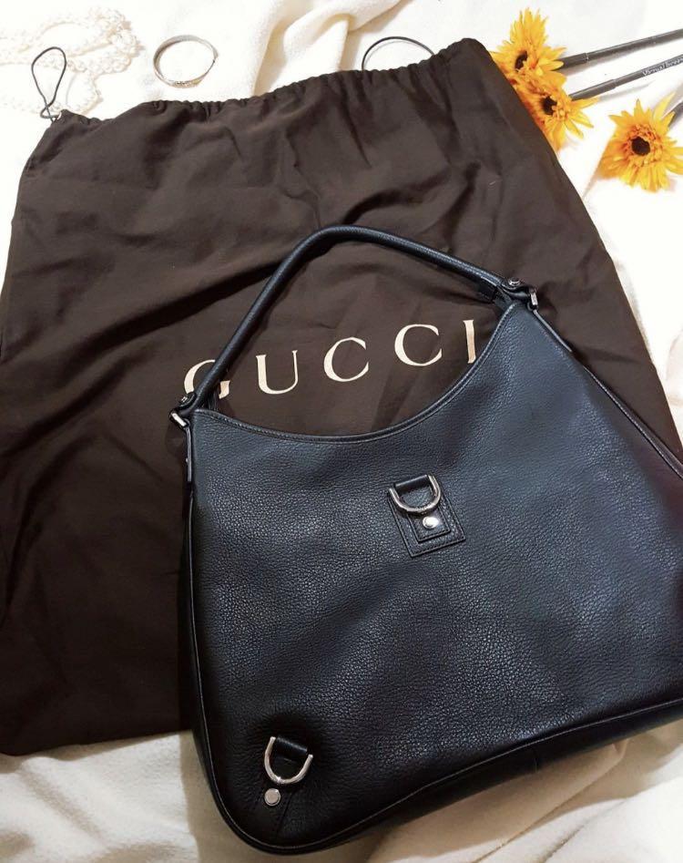 原價七萬名牌Gucci 小羊皮黑色低調奢華貴婦肩背包(中大款