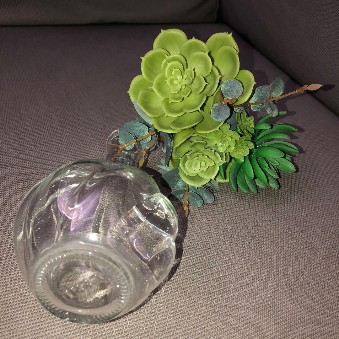 IKEA Artificial Bouquet + Vase (clear glass)